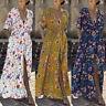 ZANZEA Womens Holiday Floral V Neck Long Split Sundress Ladies Beach Maxi Dress