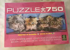 """750 piece jigsaw puzzles new """"CATS UNDER BLANKET"""" Made In The USA."""