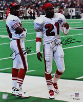 49ers Deion Sanders & Jerry Rice Signed 16x20 Vertical Photo BAS Witnessed