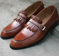 Handmade Brown Bespoke Fringe Loafers for men's CowHide leather shoes