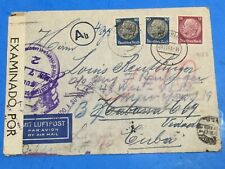 HOLOCAUST 1941 Airmail Cover From  Ex Jew In Haigerloch Germany To Havana Cuba