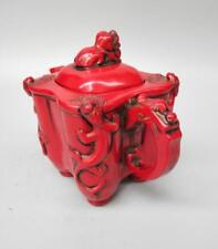 Chinese imitation red resin lion lid teapot crafts