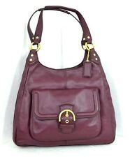 NEW COACH DARK RED GENUINE LEATHER HOBO TOTE SHOULDER HANDBAG EVENING BAGUETTE