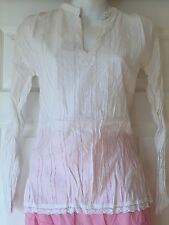 New_Peasant Boho Tunic Top Kurta_White Crinkle Cotton Shirt w/ Lace_S, M, L, XL