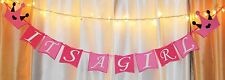 princess crown pink its a girl baby shower hanging banner