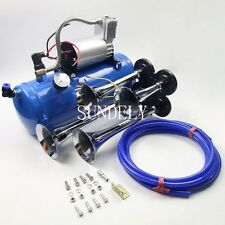 Quad Train Air Horn /Hose 150db Loud 6 liters Compressor 150 PSI Kit 12v