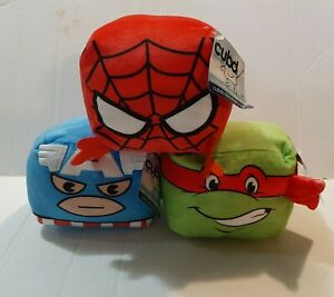 """MARVEL TMNT 4"""" Cubd Collectibles (3) TOY PLUSH 'CAP AMERICA' 'SPIDER-MAN' 'RAPH'"""