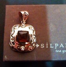 """Pendant - S0908 .925 1.5"""" in Retired Silpada Sterling Silver Etched Square Amber"""