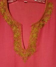 Dashiki Top / Dress, Bright Pink w/ Gold Metallic Embroidery, Short Sleeves, M-L