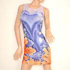 MINI ABITO tubino vestito corto donna giromanica copricostume blu floreale 100C