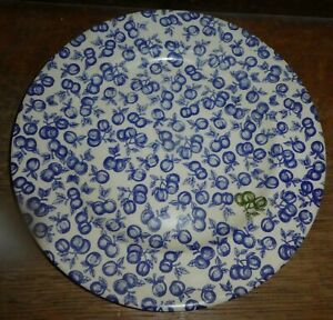 "England EIT Ironstone BLUE Apples Cherrie Fruit 9-3/4"" Plate Chintz TR"