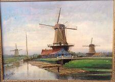 Vintage Landscape Windmills Painting Signed A Martens Oil Framed