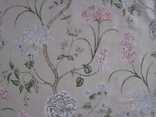 "SANDERSON CURTAIN FABRIC  ""Summer Tree Silk"" 0.58 METRE 100% SILK  CREAM/ROSE"