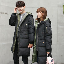 Winter Lovers Mens Womens Long Padded Loose Coat Puffer Hooded Down Jacket Parka