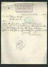 signed 1907 letter by railroad supplies dealer G W Baker, Washington C. H. Ohio