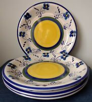 ALCO INDUSTRIES ~ Set of 4 DINNER PLATES ~ AOI16 ~ Blue Flowers ~ Yellow Centers