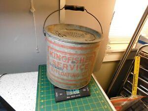 OLD RARE Vintage Kingfisher 10 Quart Floating Galvanized Steel Bait Bucket/Pail