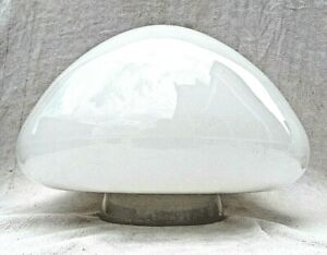 LRG AUTHENTIC ART DECO WHITE GLASS CEILING LIGHT WITH CERAMIC SCREW GALLERY VGC