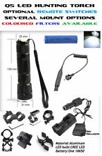 Hunting Torch/Flashlight Rifle/Shotgun Barrel/Scope Mount CREE LED. Tail Switch