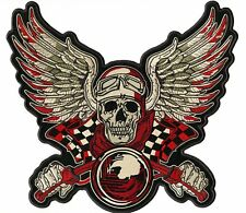 "13""  Victory Speed Racing Skull Checker Flag Large Wings Motorcycle Jacket Patch"