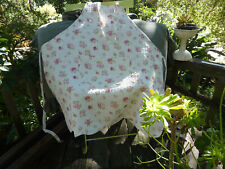 Shabby Cottage Chic Quilted Apron Pink Rose Cottage White Adjustable 100% Cotton