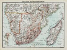 South Africa, Industries and Communications  Map in 1908