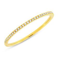 Band Thin Ring 1 Mm Stack 6 Womens 0.10Ct 14K Yellow Gold Natural Round Diamond