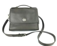 COACH Vintage Gray Leather Court Turnlock Flap Crossbody #9870
