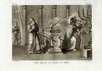 stampa antica originale sacra incisione acquaforte Morte funesta Nadabe e Abiù