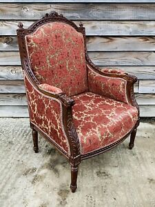 LOVELY ANTIQUE 19th CENTURY FRENCH MAHOGANY UPHOLSTERED ARMCHAIR, C1900