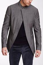 $1,398 John Varvatos Mens Jacket Sz 58 Asymmetric Safety Pin Closure 100% Wool