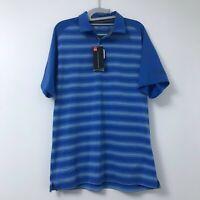 New Under Armour Heat Gear Loose Blue Stripe Polo Golf Short Sleeve Shirt Men's