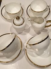 FINE BONE CHINA TEA SET FOR 4 WHITE WITH GOLD TRIM STUDIO TU-NEW ,FREE SHIPPING