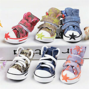 4pcs Pet Dog Boots Puppy Denim Sports Anti-slip Shoes Sneakers SMALL Dogs