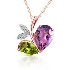 Genuine Amethyst Peridot Diamond Gemstone 14K Solid Gold Necklace Pendant