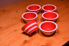 Small Red & White Striped Ceramic Bowls, Good for dipping sauces, Cat food