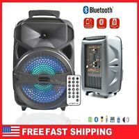 """Portable BT Bluetooth Party Speaker 8"""" Subwoofer Heavy Bass Sound System Remote"""