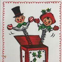 Vintage Mid Century Christmas Greeting Card Hallmark Jack In The Box Toy