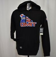 OMIT Apparel Mens Skateboarder Brand Black Baseball Design Pullover Hoodie New L