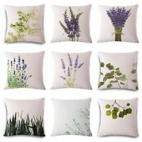New Lavender Linen Cotton Pillow Case Cushion Cover Home Sofa Decor Gift