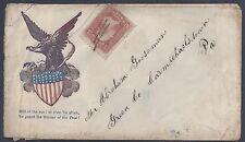 US 1860s CIVIL WAR COVER EAGLE & SHIELD CACHET PEN CANCELLED 3¢ WASHINGTON TO