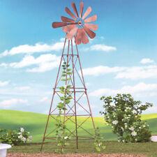 Rustic Metal Wind Spinner Yard Windmills Decoration Plant Trellis Garden Stakes