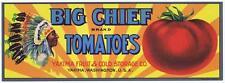 Big Cheif Tomatioes Yakima Washington Native Indian Vegetable Crate Label