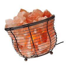 WBM 1301B Himalayan Natural Crystal Salt Basket Lamp Bundle with Power Cord Lig