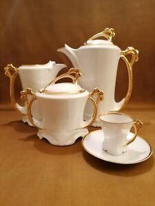 Servizio caffè liberty in finissima porcellana, 9 persone, primi 900
