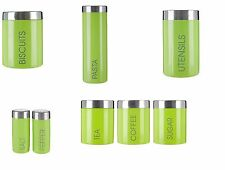 TEA COFFEE SUGAR BREAD BISCUIT OR PASTA STORAGE CANISTERS - LIME GREEN LIBERTY