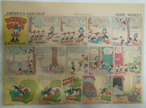 (51) Donald Duck Sunday Pages by Walt Disney from 1942 Half Page Size