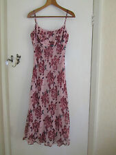 Pink & Purple Floral Silk Calf to Maxi Length Phase Eight Dress - Size 10 - BNWT