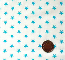 TURQUOISE STARS(7mm) ON WHITE - COTTON FQ'S