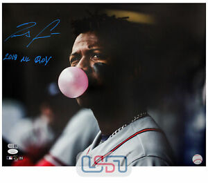 "Ronald Acuna Jr. Braves Signed ""2018 NL ROY"" 16x20 Photograph Photo JSA Auth #4"